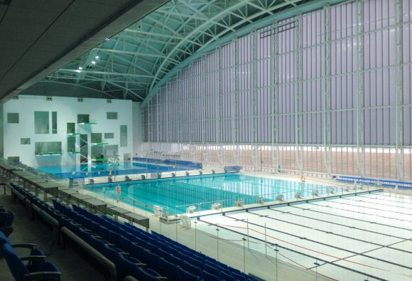 aquatics centre gwangju, Schwimmbecken Gwangju, Aquatics Center Gwangjul, hubboden, Aquatics center Gwangju, zuid korea, south-korea